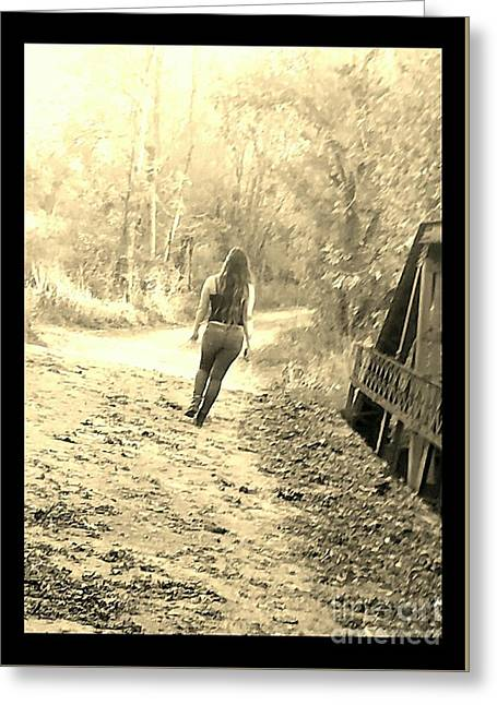 Country Girl Walking - Sepia With Border Greeting Card