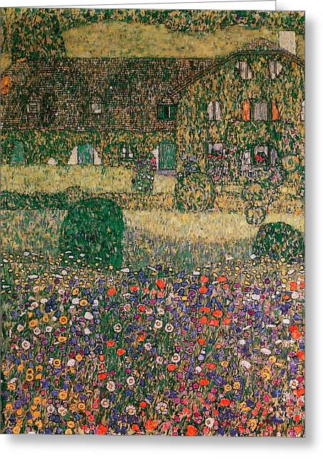 Country House Greeting Cards - Country House by the Attersee Greeting Card by Gustav Klimt