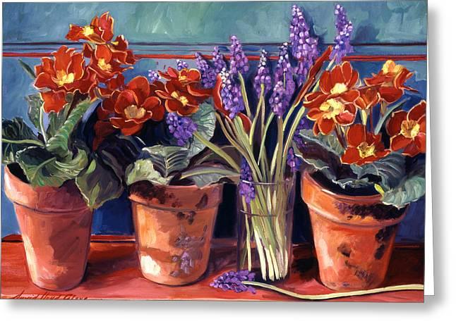 Country Inn Flowerpots Greeting Card by David Lloyd Glover