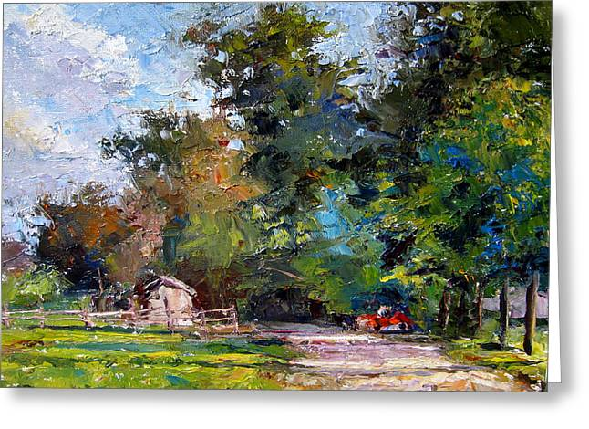Country Lane Greeting Card by Mark Hartung