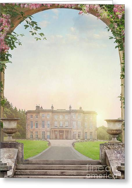 Greeting Card featuring the photograph Country Mansion At Sunset by Lee Avison