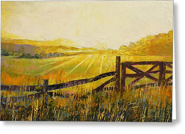 Country Meadow Greeting Card by Michael Creese