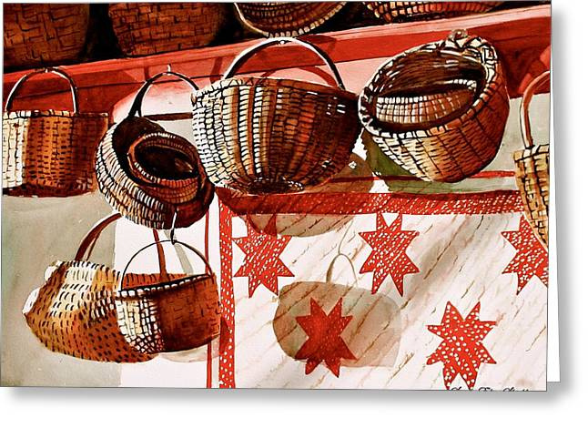 Red And White Quilt Greeting Cards - Country Morning Greeting Card by Susan Elise Shiebler