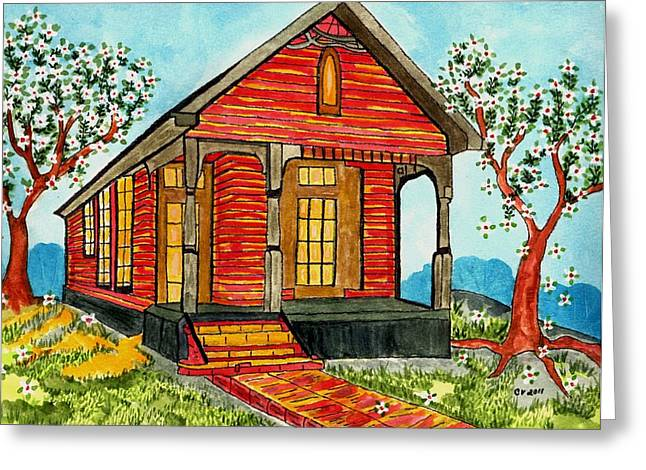 Country New Orleans Shot Gun House Greeting Card by Connie Valasco