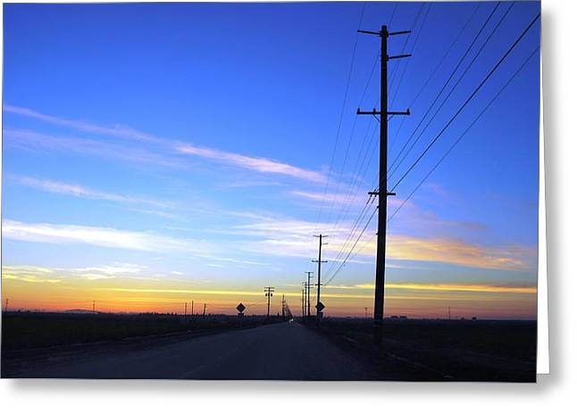 Greeting Card featuring the photograph Country Open Road Sunset - Blue Sky by Matt Harang