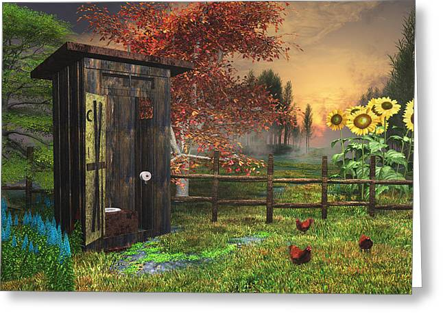Country Outhouse Greeting Card by Mary Almond