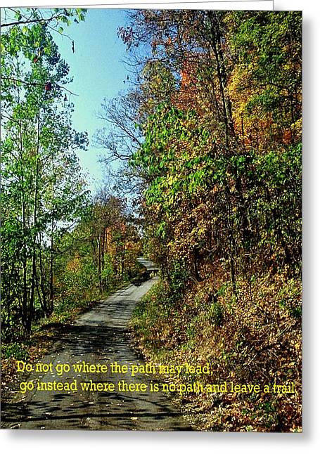 Country Path Greeting Card by Gary Wonning
