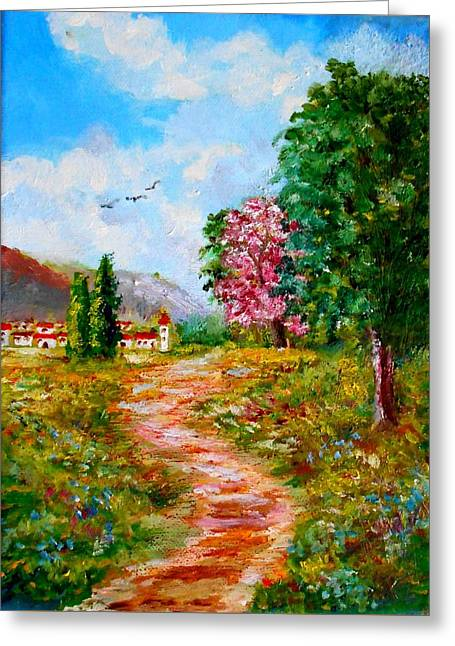 Country Pathway In Greece Greeting Card