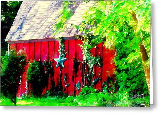 Country Red Barn Star Greeting Card