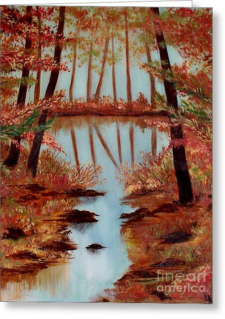 Greeting Card featuring the painting Country Reflections by Leslie Allen