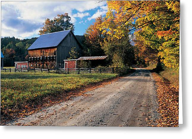 Country Road Along A Farm, Vermont, New Greeting Card