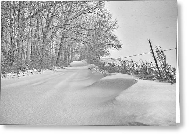 Country Road Blizzard  Greeting Card