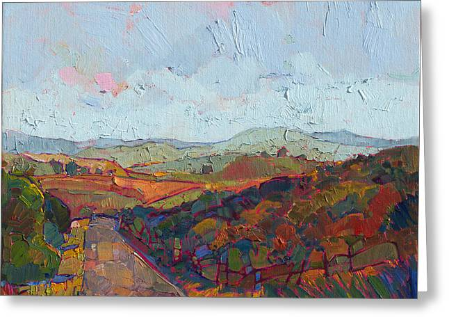 Greeting Card featuring the painting Country Road by Erin Hanson