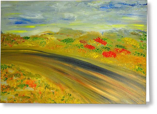 Greeting Card featuring the painting Country Road by Evelina Popilian