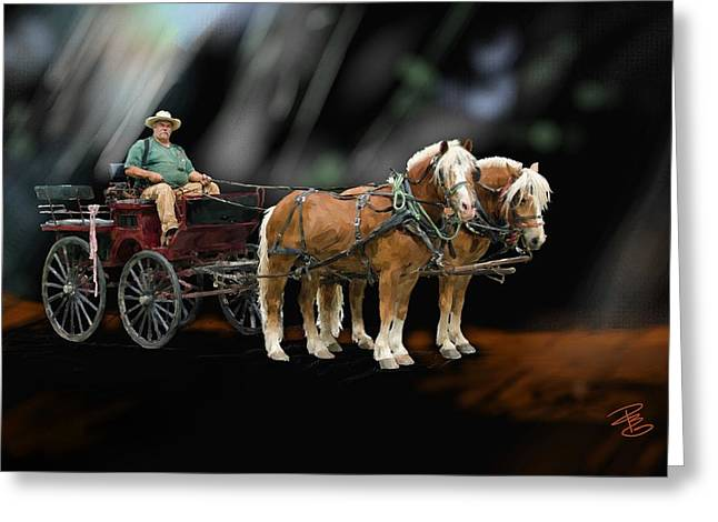 Country Road Horse And Wagon Greeting Card by Debra Baldwin
