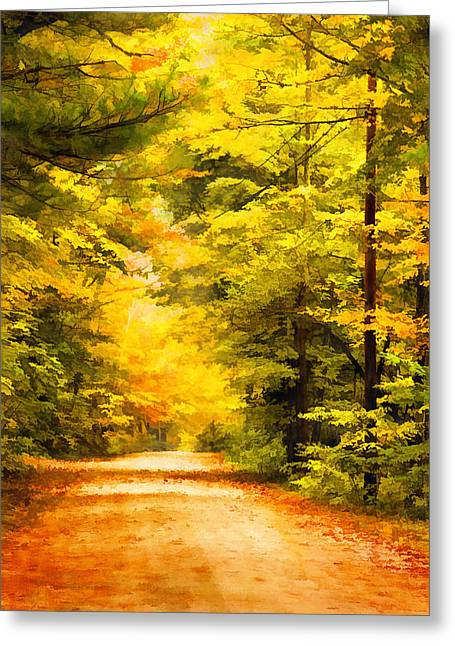 Country Road In Autumn Digital Art Greeting Card