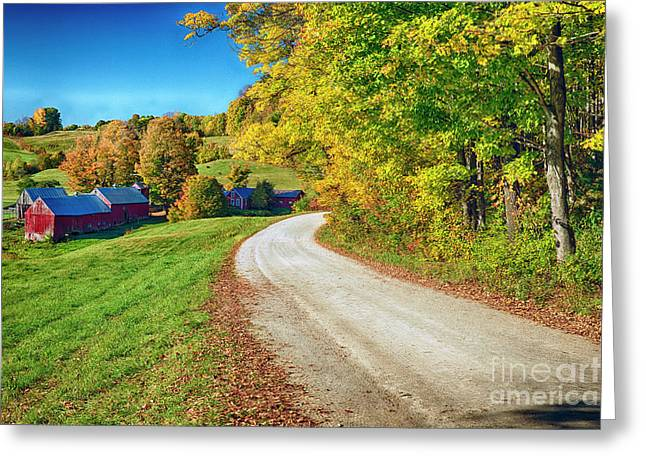 Country Road With A Farm Greeting Card by George Oze