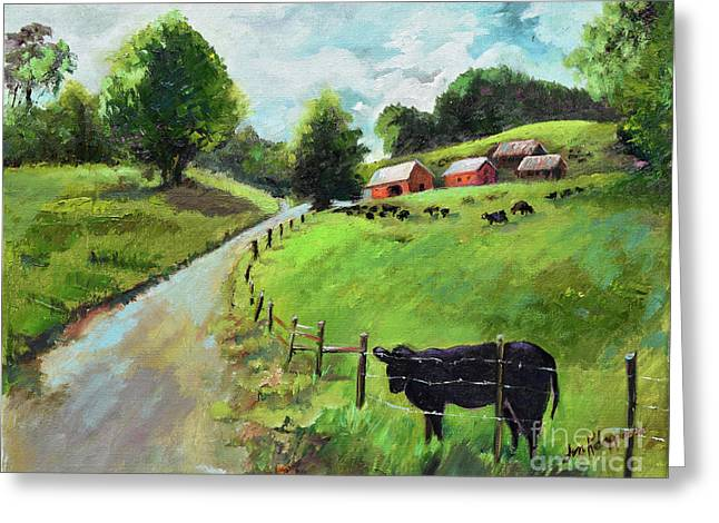 Greeting Card featuring the painting Country Roads Of Georgia- Ellijay Rural Scene by Jan Dappen
