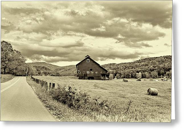 Country Road...west Virginia - Sepia Greeting Card