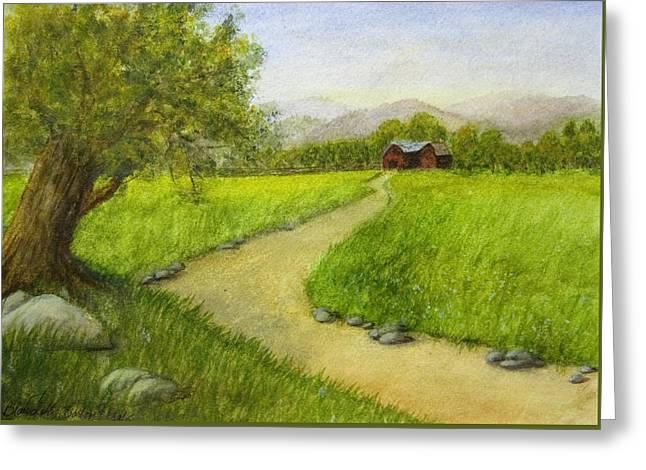 Country Scene - Barn In The Distance Greeting Card