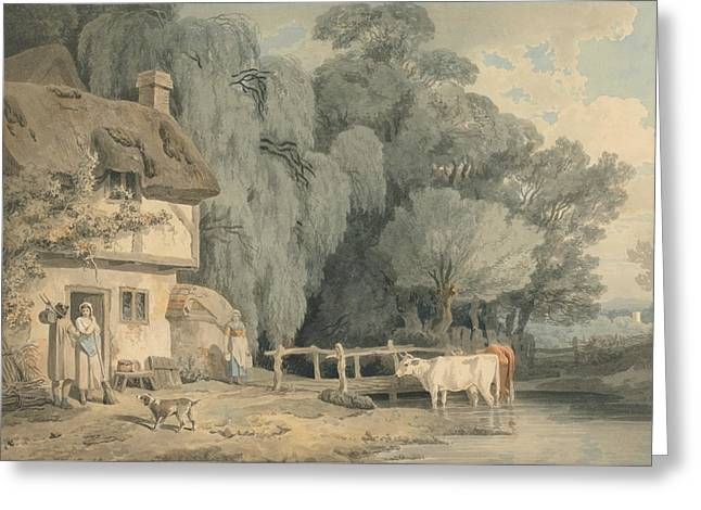 Country Scene - Figures By A Cottage Door And Cattle In A Stream Greeting Card