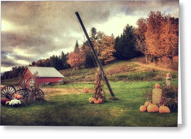 Country Scene In Autumn Greeting Card by Joann Vitali