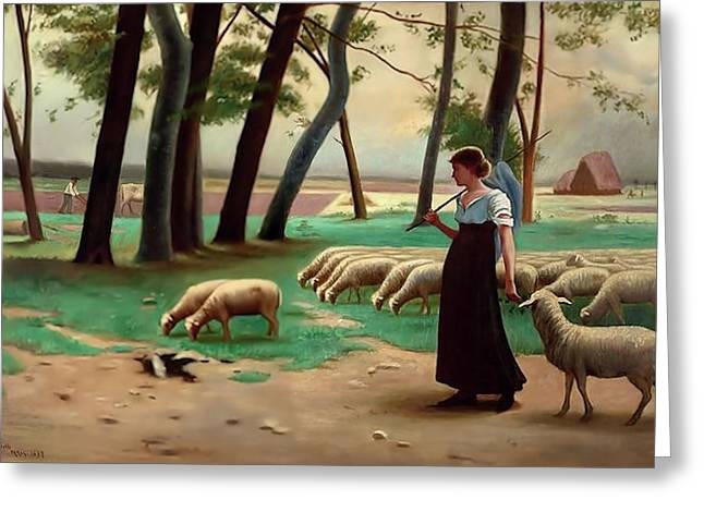 Country Shepherdess  Greeting Card by Henri Lerolle