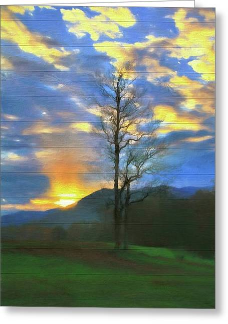 Country Sunset On Wood Greeting Card by Dan Sproul