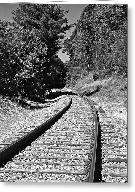 Country Tracks Black And White Greeting Card