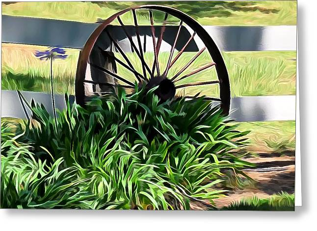 Country Wagon Wheel Greeting Card
