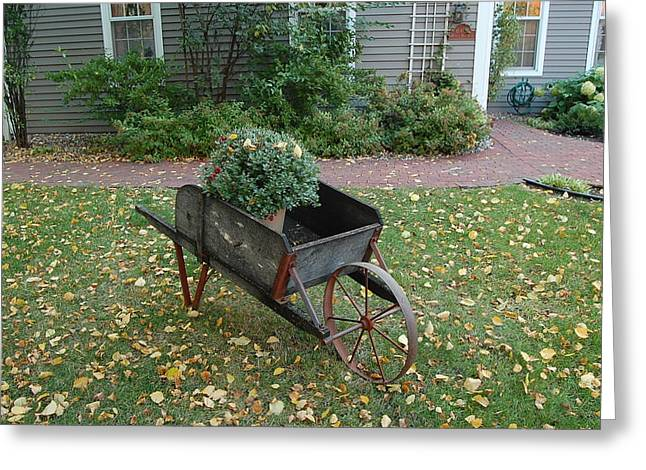Country Wheelbarrow  Greeting Card by Leslie Thabes