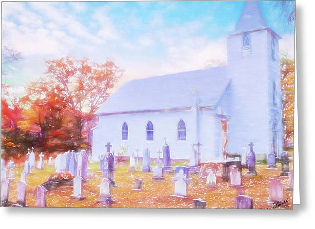 Country White Church And Old Cemetery. Greeting Card