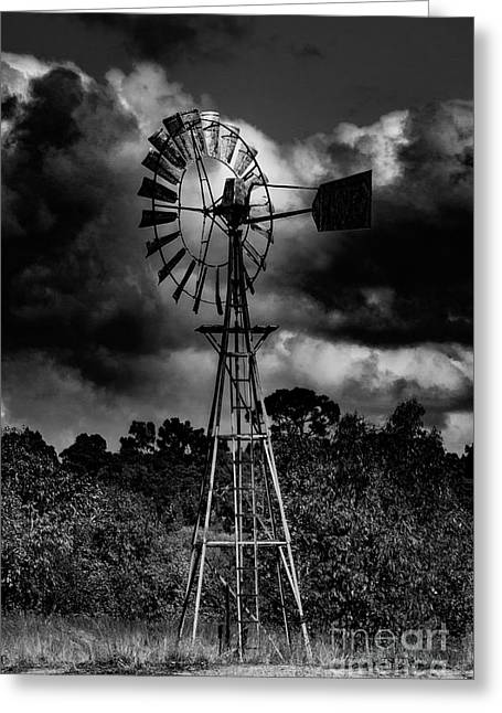 Country Windmill Greeting Card by Naomi Burgess