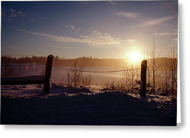Country Winter Sunset Greeting Card