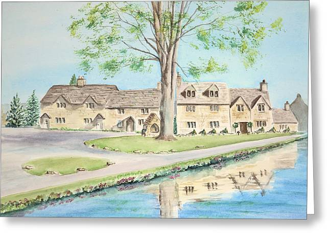 Greeting Card featuring the painting Countryside Cottages by Elizabeth Lock
