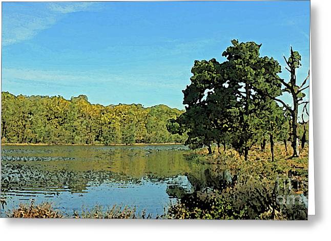 Countryside Netherlands, Lakes, Meadows, Trees, Digital Art. Greeting Card