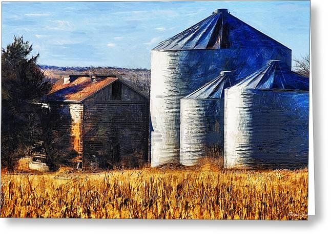 Countryside Old Barn And Silos Greeting Card