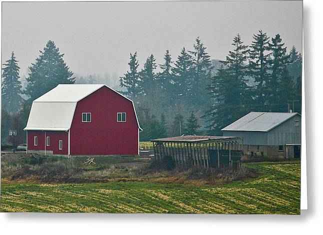 Countryside Red Barn Greeting Card by Liz Santie