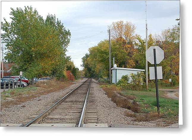 Countryside Train Track  Greeting Card by Leslie Thabes