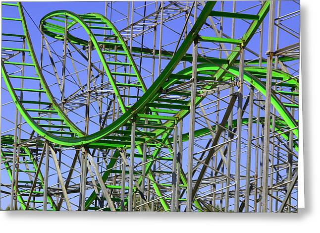 County Fair Thrill Ride Greeting Card by Joe Kozlowski
