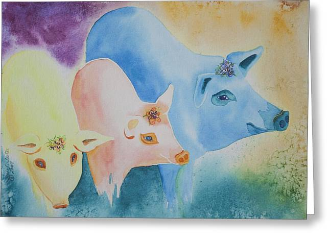 Red Hog Greeting Cards - County Fair Greeting Card by Tracy L Teeter