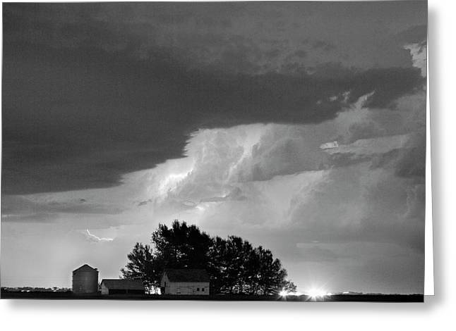 County Line Northern Colorado Lightning Storm Bw Greeting Card by James BO  Insogna