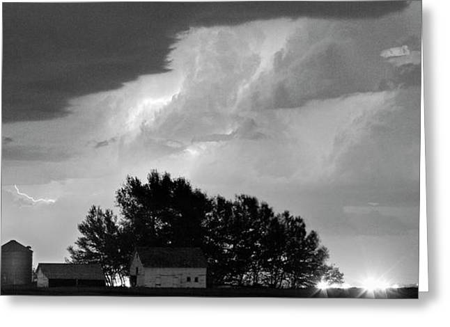 County Line Northern Colorado Lightning Storm Bw Pano Greeting Card by James BO  Insogna