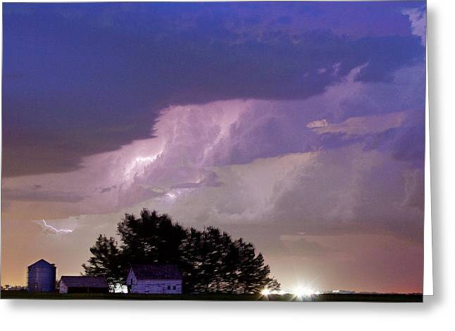 County Line Northern Colorado Lightning Storm Cropped Greeting Card by James BO  Insogna