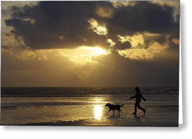 Child In Clouds Greeting Cards - County Meath, Ireland Girl Walking Dog Greeting Card by Peter McCabe