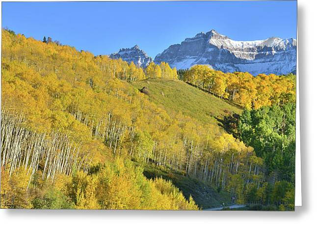 Greeting Card featuring the photograph County Road 7 Fall Colors by Ray Mathis