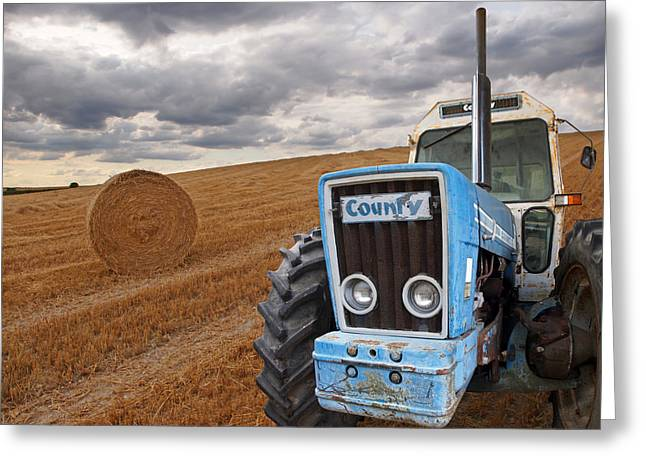 County Tractor At Harvest Time Greeting Card