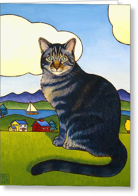 Coupeville Cat Greeting Card by Stacey Neumiller