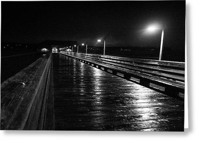 Coupeville Wharf On A Rainy Night Greeting Card by Mary Lee Dereske