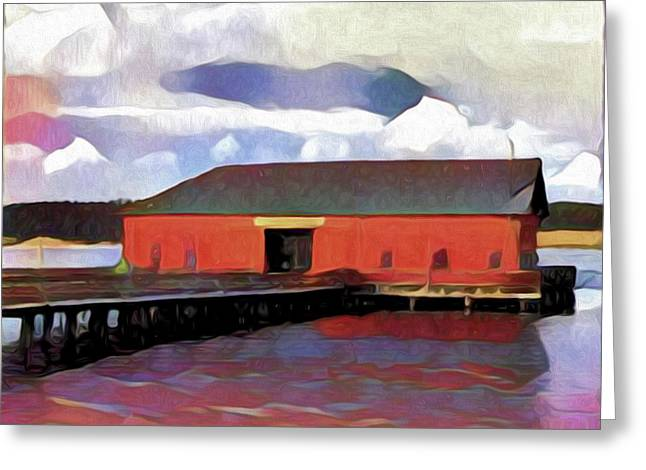Coupeville Wharf Painterly Effect Greeting Card by Carol Leigh